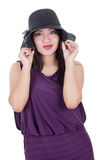 Beautiful hispanic girl wearing a hat smiling Royalty Free Stock Images