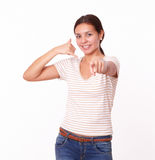 Beautiful hispanic lady pointing at you Royalty Free Stock Photos