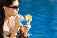 Beautiful Hispanic Latina Woman Drinking Cocktail Royalty Free Stock Photography