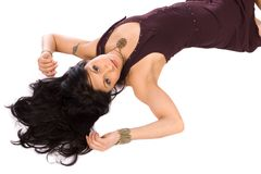 Beautiful hispanic model lying on her back Stock Images