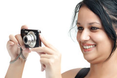 Beautiful hispanic photographer Royalty Free Stock Photo