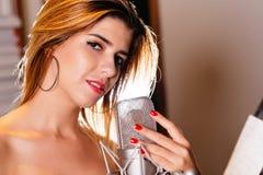 Beautiful Hispanic singer Royalty Free Stock Photo