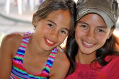 Beautiful Hispanic Sisters Stock Images