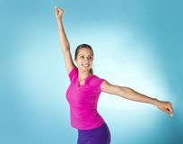 Beautiful Hispanic Woman Aerobic Workout Stock Images
