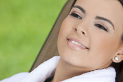 Beautiful Hispanic Woman in Bathrobe at Health Spa Royalty Free Stock Images
