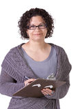 Beautiful Hispanic Woman With a Clipboard Royalty Free Stock Photo