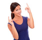 Beautiful hispanic woman with fingers pointing up Royalty Free Stock Photography