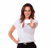 Beautiful hispanic woman holding blank card Stock Photos