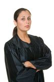 Beautiful Hispanic Woman Judge. In black judicial robes standing with her arms crossed Stock Photography