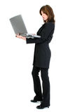 Beautiful Hispanic Woman with Laptop Stock Photo