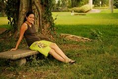 Beautiful Hispanic Woman outside. Young, beautiful Hispanic woman enjoying nature Royalty Free Stock Image