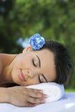 Beautiful Hispanic Woman Relaxing At Health Spa Royalty Free Stock Image