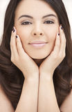 Beautiful Hispanic Woman Resting on Her Hands Royalty Free Stock Image