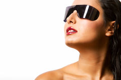 Beautiful hispanic woman with shades Stock Images