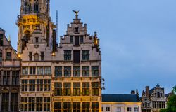 Beautiful historic architecture in the center of antwerp city, Classical cottages by night in antwerpen, Belgium stock image