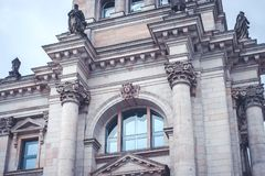 Beautiful historic building facade details of the German Reichst. Ag Stock Images