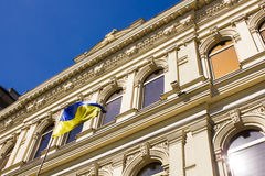 Beautiful historic building wih flag of Ukraine Royalty Free Stock Images