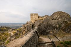 Historic castle in Monsanto Portugal. Beautiful historic castle in Monsanto Portugal in the afternoon on a cloudy day Stock Photos