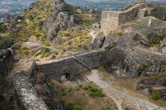 Historic castle in Monsanto Portugal. Beautiful historic castle in Monsanto Portugal in the afternoon on a cloudy day Stock Photo