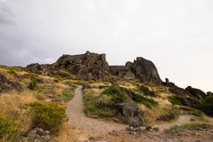 Historic castle in Monsanto Portugal. Beautiful historic castle in Monsanto Portugal in the afternoon on a cloudy day Stock Photography