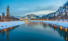 Beautiful historic city of Salzburg  in winter at night, Austria Stock Photos