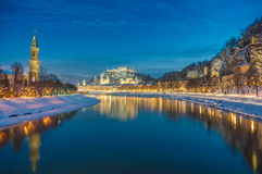 Beautiful historic city of Salzburg  in winter at night, Austria Royalty Free Stock Photography
