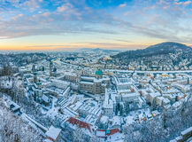 Beautiful historic city of Salzburg in winter at sunset, Austria Royalty Free Stock Image