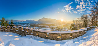 Beautiful historic city of Salzburg in winter at sunset, Austria royalty free stock photography