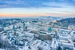 Beautiful historic city of Salzburg in winter at sunset, Austria Stock Photo