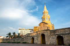 Beautiful Historic Clock Tower Gate. In the historic colonial city center in Cartagena, Colombia Stock Photos