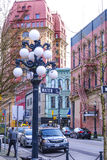 Beautiful historic district of Vancouver - Gastown - VANCOUVER / CANADA - APRIL 12, 2017. Beautiful historic district of Vancouver - Gastown Royalty Free Stock Photography