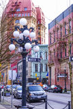 Beautiful historic district of Vancouver - Gastown - VANCOUVER / CANADA - APRIL 12, 2017. Beautiful historic district of Vancouver - Gastown Royalty Free Stock Photo