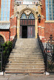 Beautiful historic entrance to the old catholic church in Wroclaw Stock Photography