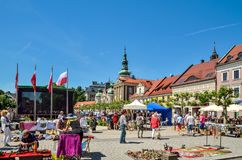 A beautiful historic market in Pszczyna, Poland. Royalty Free Stock Images