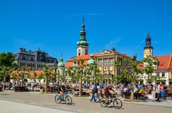 A beautiful historic market in Pszczyna, Poland. Stock Image