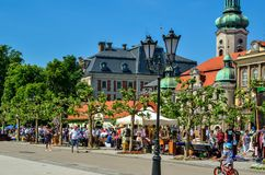 A beautiful historic market in Pszczyna, Poland. Royalty Free Stock Photography