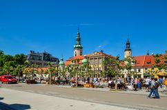 A beautiful historic market in Pszczyna, Poland. PSZCZYNA, POLAND - MAY 13, 2018: Antique market on a beautiful historic market in Pszczyna, Poland royalty free stock photo