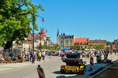 A beautiful historic market in Pszczyna, Poland. PSZCZYNA, POLAND - MAY 13, 2018: Antique market on a beautiful historic market in Pszczyna, Poland royalty free stock images