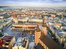 Beautiful historic market square at sunrise, Krakow, Poland Stock Photos