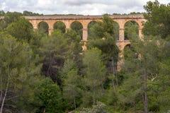 Roman Aqueduct Pont del Diable in Tarragona, Spain Royalty Free Stock Images
