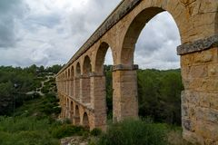 Roman Aqueduct Pont del Diable in Tarragona, Spain Royalty Free Stock Photo