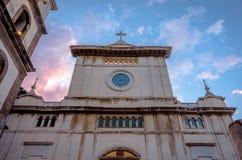 Santa Maria Assunta Church at sunrise in Positano Italy stock photography