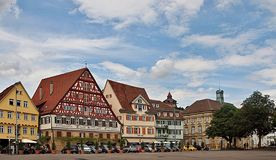 Stuttgart Esslingen in Germany with timber houses and a church stock photo