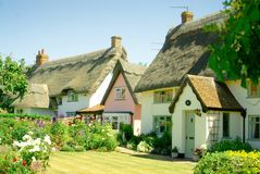 Idyllic thatched cottages. royalty free stock photography