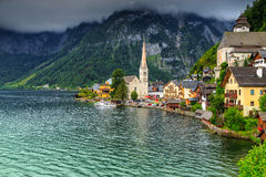 Beautiful historic village with alpine lake,Hallstatt,Salzkammergut region,Austria Stock Image