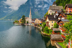 Beautiful historic village with alpine lake,Hallstatt,Salzkammergut region,Austria Royalty Free Stock Photo