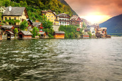 Beautiful historic village with alpine lake,Hallstatt,Salzkammergut region,Austria Royalty Free Stock Images