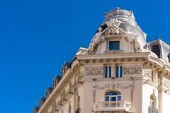 Beautiful historical building of old architecture in the city center, Madrid, Spain. Copy space for text. Beautiful historical building of old architecture in Royalty Free Stock Image