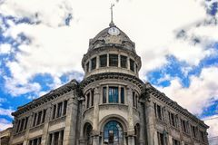 Beautiful historical bulding in Riobamba, Ecuador. Beautiful historical bulding in Riobamba, Ecuador with very nice blue sky an clouds Stock Photo