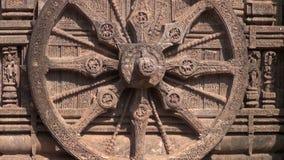 Beautiful historical chariot wheel, konark temple stock footage